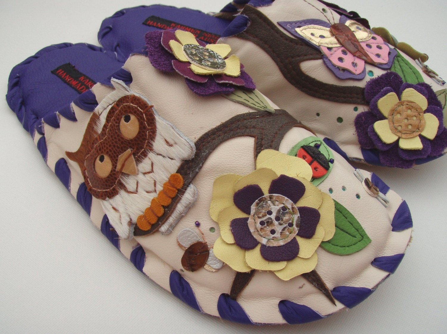 Handmade Leather slippers by Karmen Sega - Owl and butterfly on gerbra tree