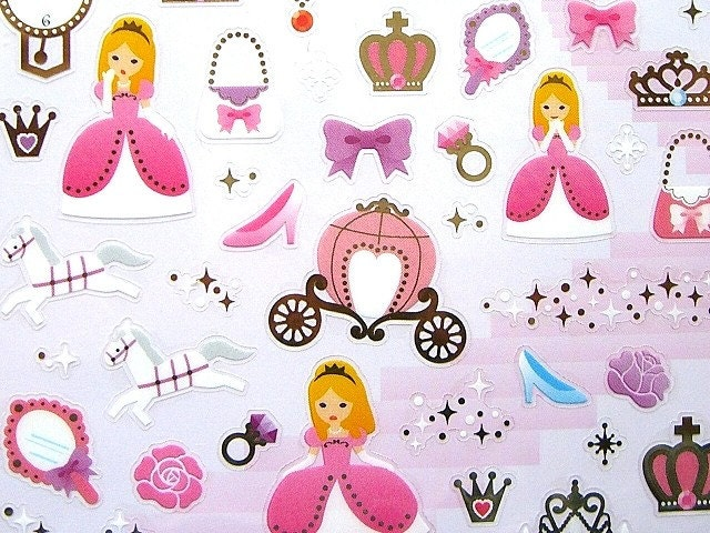 Cute Japanese Stickers Fairy Tales Cinderella Elegant Princess (S369)