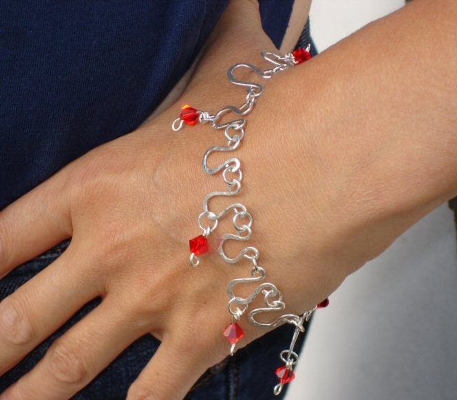 etsyfreeshipping  Arabian style bracelet made from sterling silver with Swarovski beads