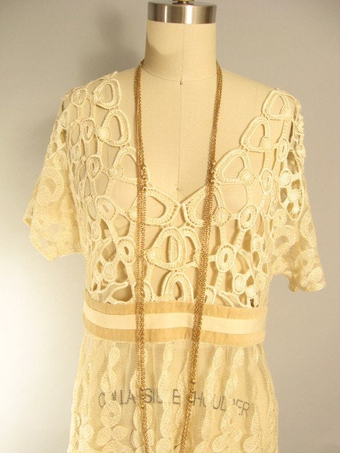 Vintage 70s Cream Scallop Crochet Lace Boho Mini Dress