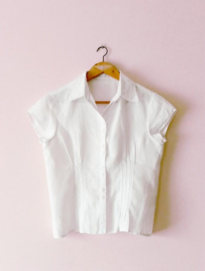 White Linen Short Sleeve Blouse 106