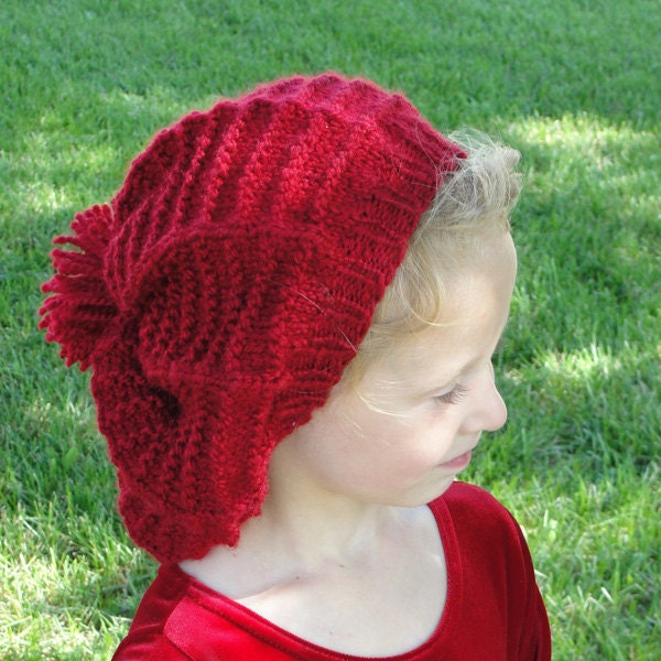 Knitting Pattern Tam Hat : Instant Download PDF Mary Lennox Tam Easy by mysecretwish