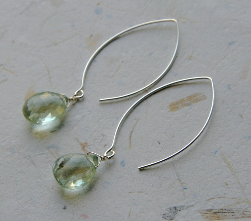 Faceted Green Amethyst on Long Silver Wires