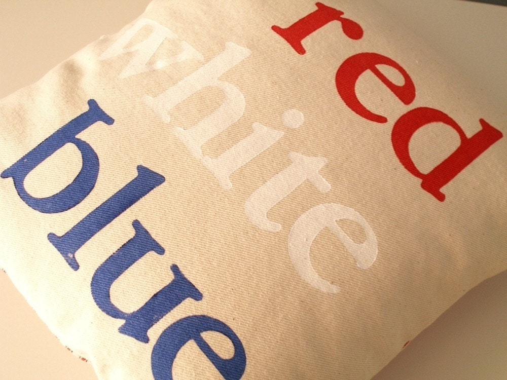 Hand Stamped Typography Pillow - Modern Red, White, Blue