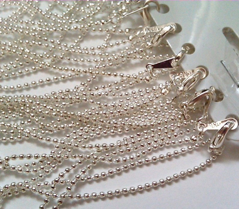 12 silver   1.5mm ballchain 16 inch necklaces