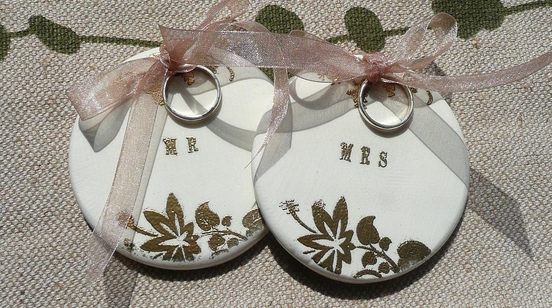 Set Of TWO Ceramic Ring Bearer Discs with keepsake box and charm Reads MR ans MRS