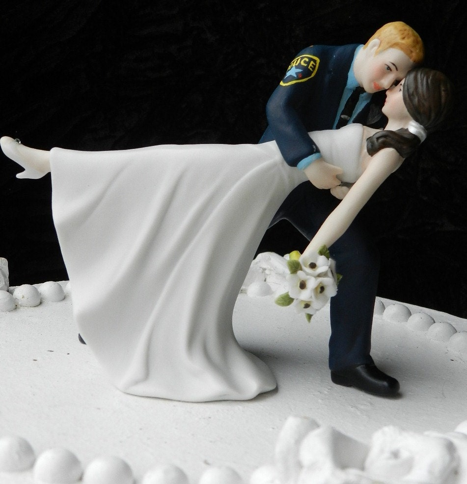 Police Officer And Bride Wedding Cake Topper
