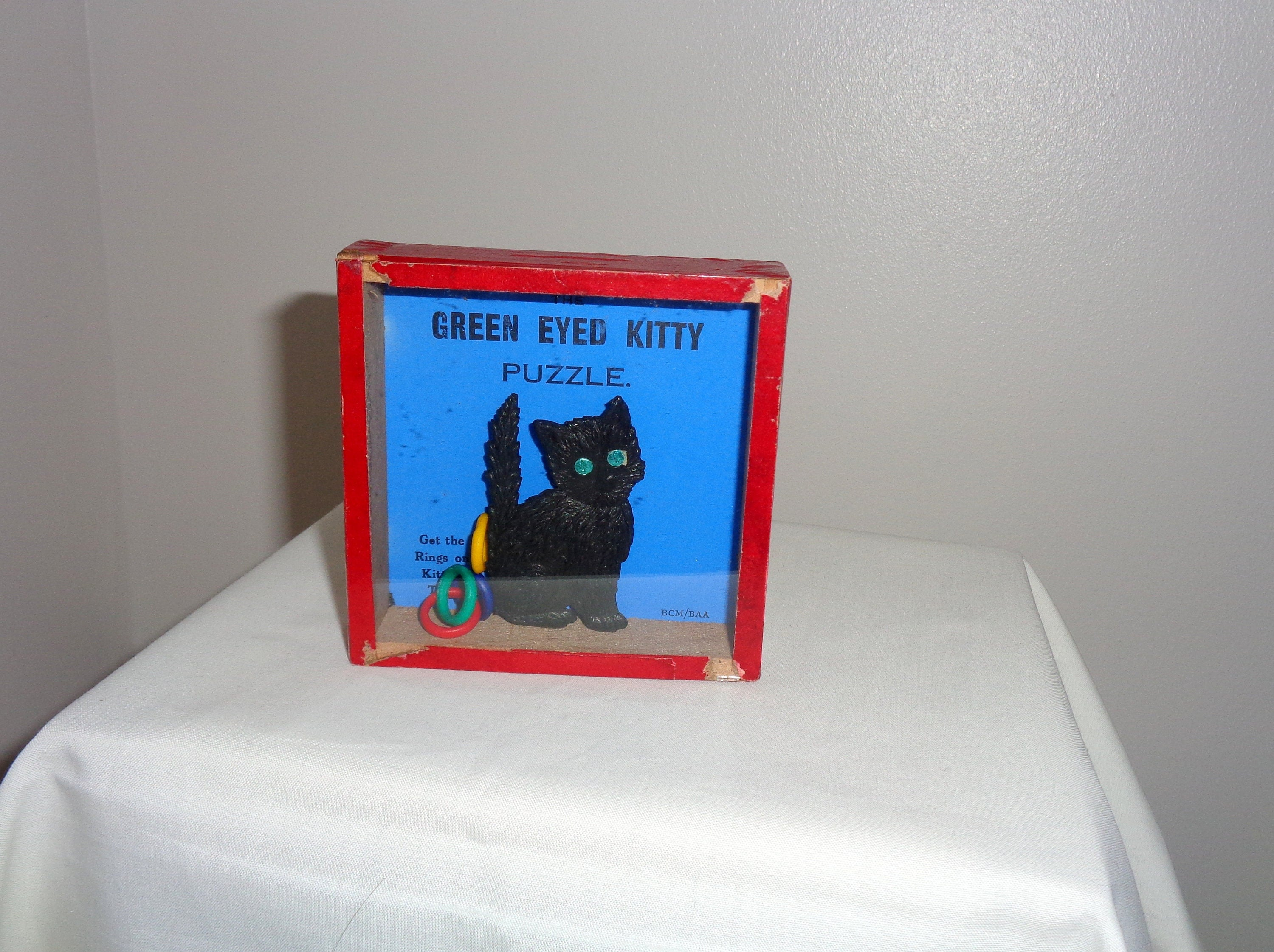 1920s Hand Held Green Eyed Kitty Table/ Patience Game/ Dexterity/ Palm Puzzle/ Childrens Game by BCM/BAA. Museum Collectible