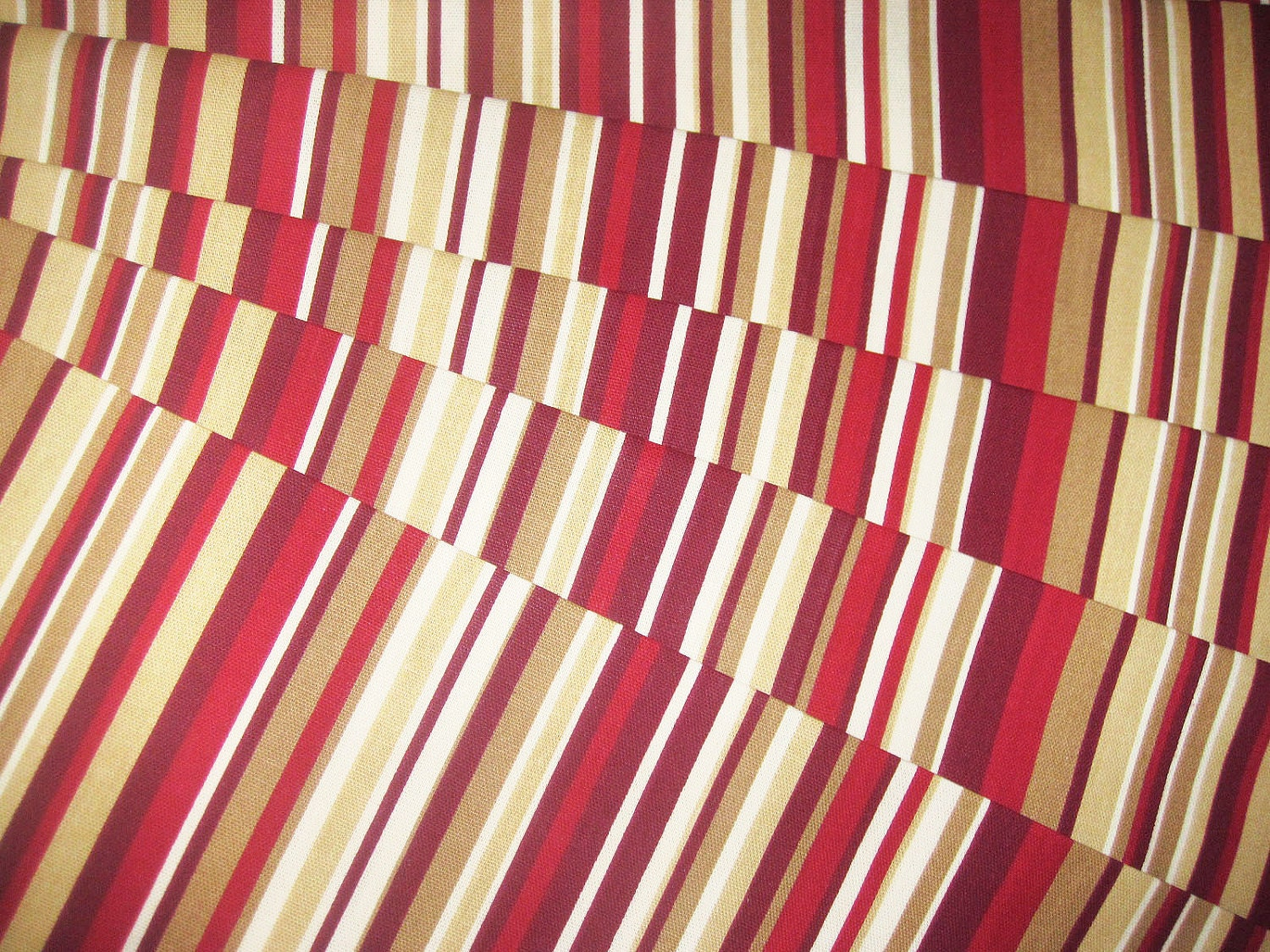 Valance Curtain Red and Cream Stripes 43 by bananabunch on Etsy