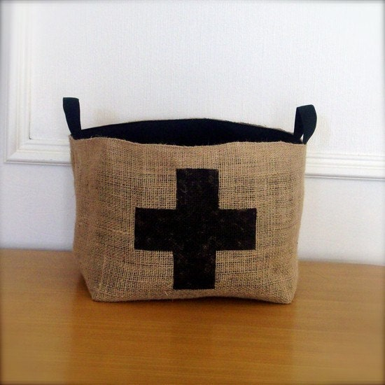 X Large Coffee Sack Basket - Black Swiss Cross