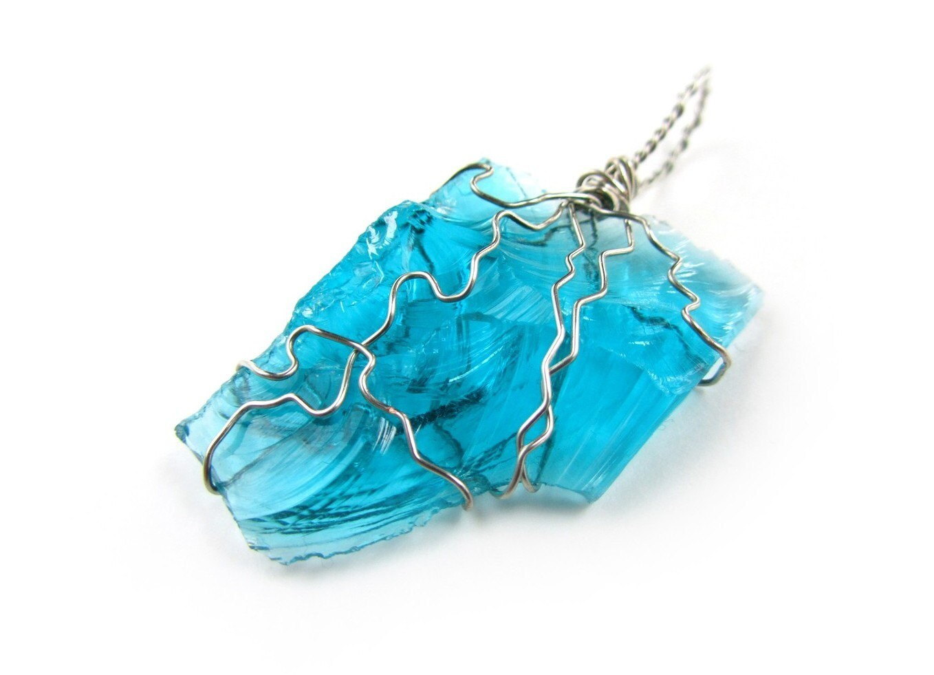 pendant upcycled wire wrapped glass shard turquoise