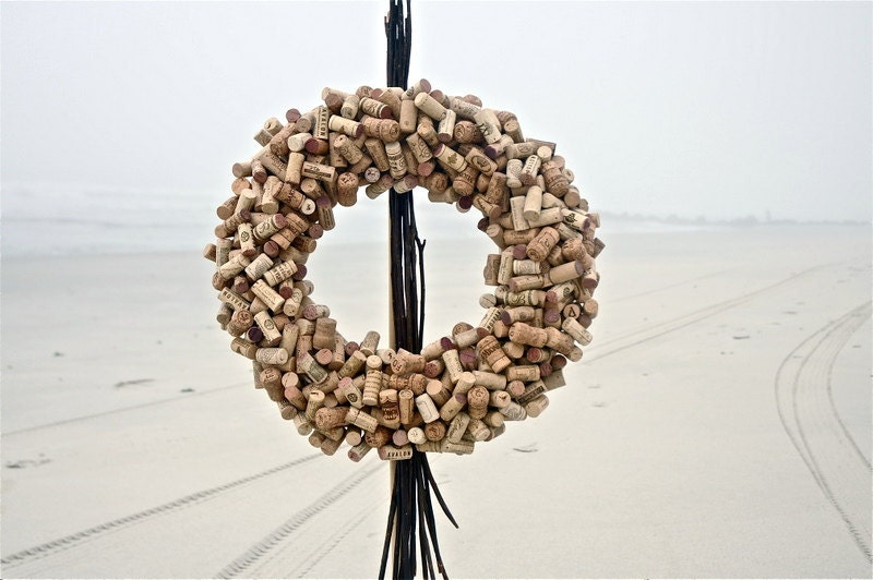 "Really Big Recycled Wine Cork Wreath 23"" - 24"" /  ""Naked"""