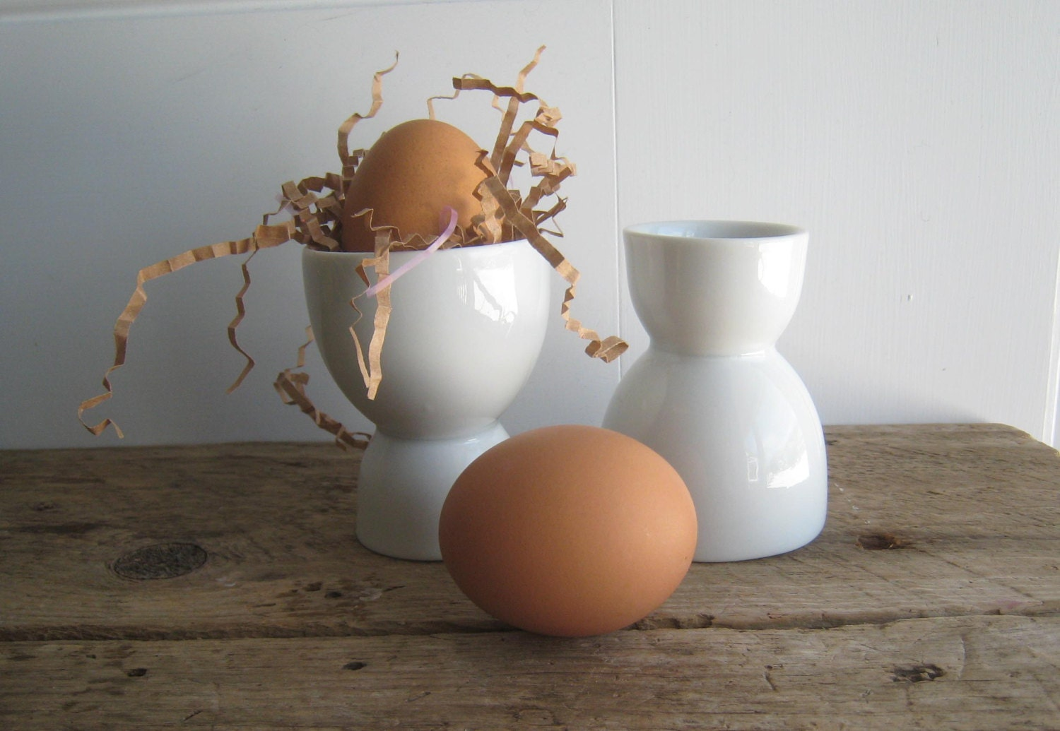 Pair of French White Porcelain Egg Cups - GentlemanlyPursuits