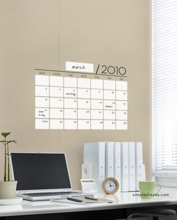 Unique Dry Erase Board Decal - Wall Calendar - Vinyl Wall Sticker
