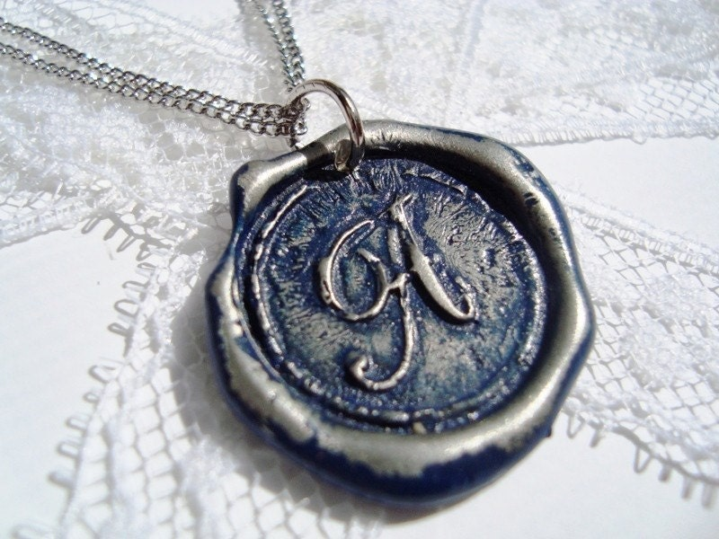 Wax Seal Pendant NAVY letter of your choice monogrammed initial WITH chain a b c d e f g h i j k l m n o p q r s t u v w x y z