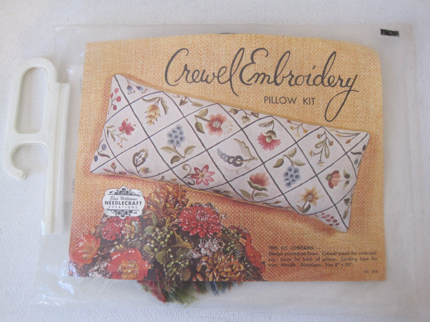 Crewel Embroidery Pillow Kit By Elsa Williams By CuckoosFabrik