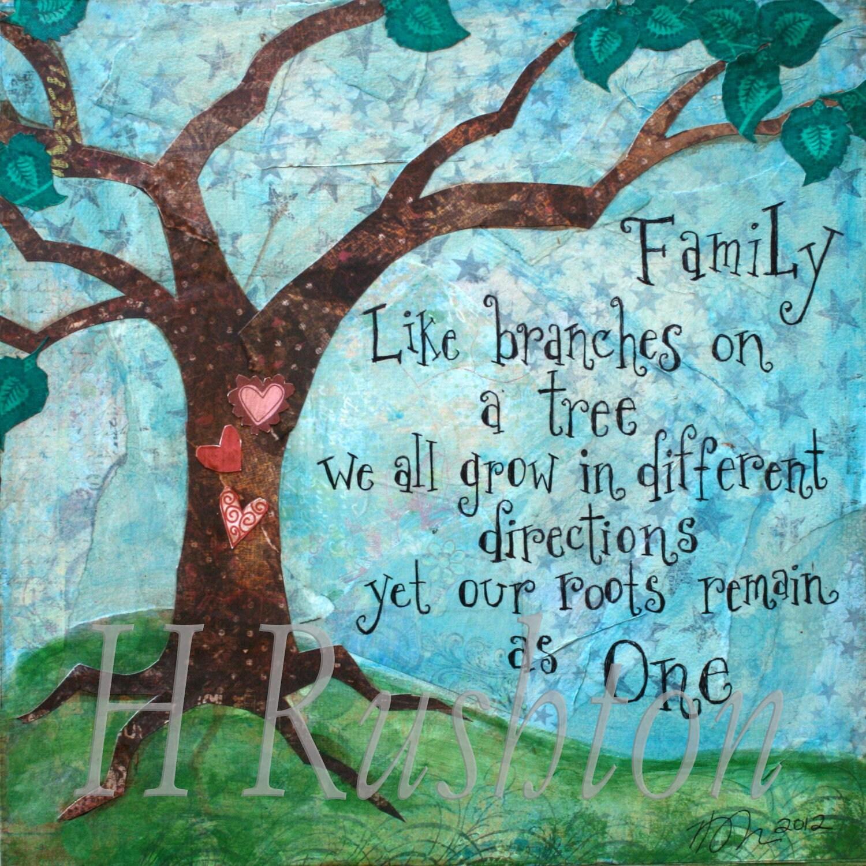 Painting Quote For House : Family Tree ArtFamily Wall Art Quote Mixed Media by HRushtonArt