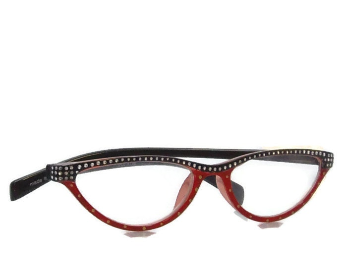 gold dot reading glasses 100 strength handpainted by