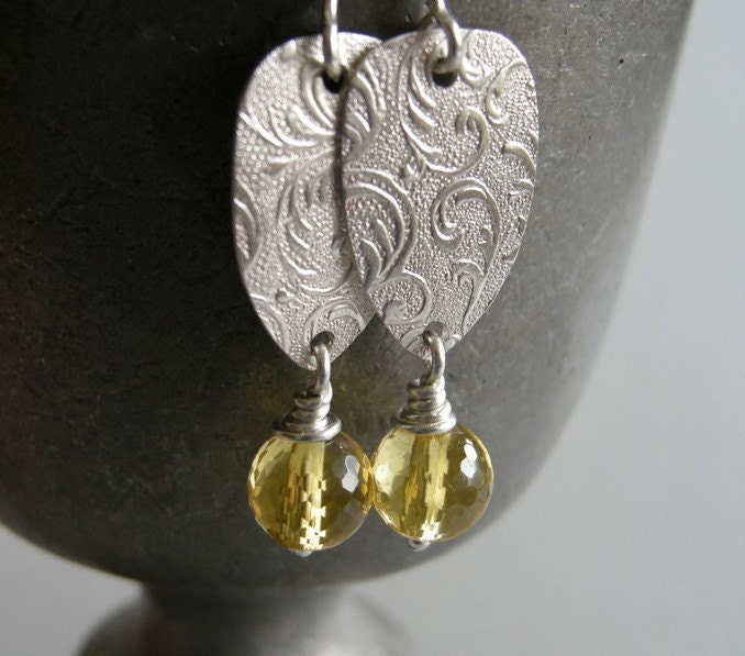 citrine earrings. hand forged sterling silver and faceted citrine. solstice earrings by archaicdesign
