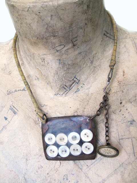 Stitch. Rustic assemblage shabby gypsy mop button necklace.