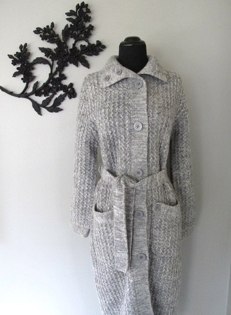 long winter STORMY GRAY sweater jacket - size M/L