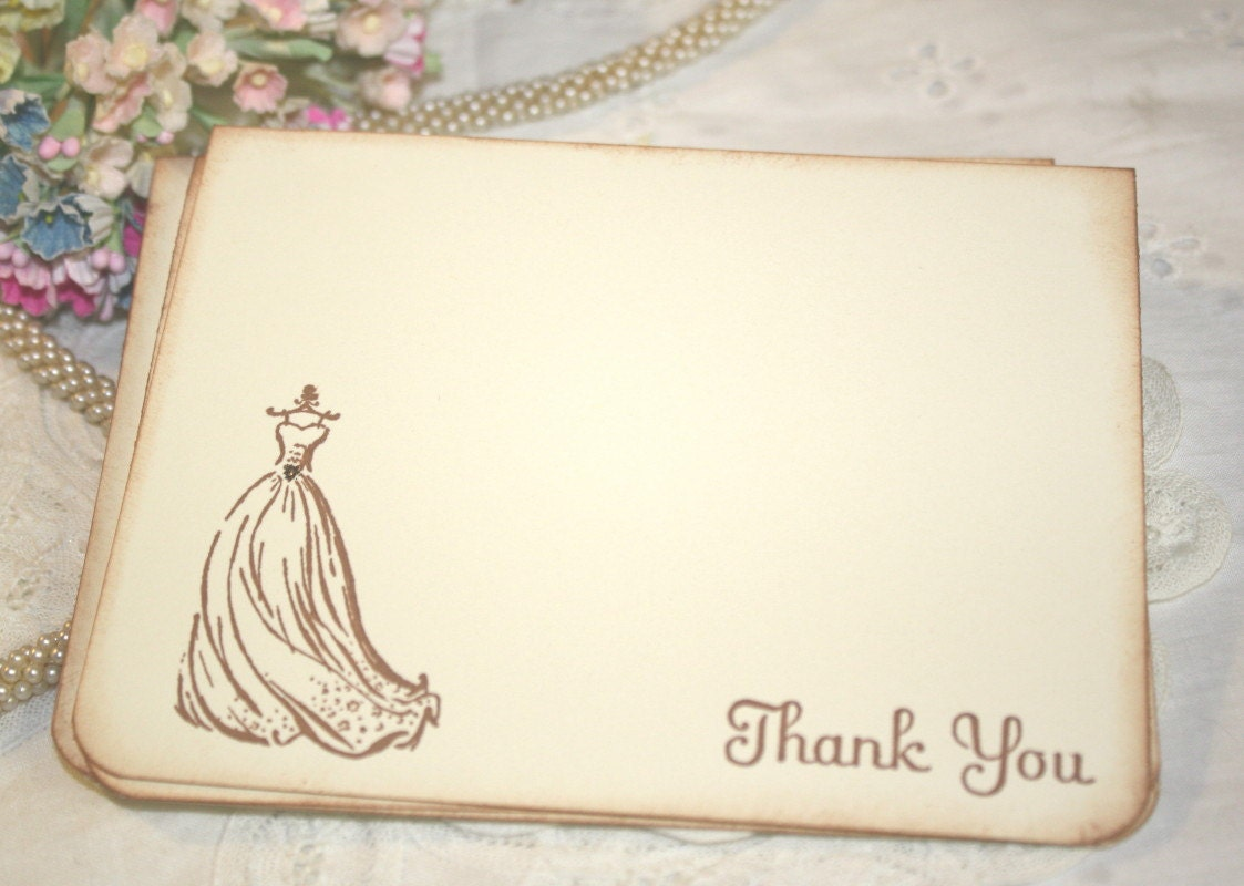 Thank You Samples For Wedding Shower Gifts : Wedding Thank You Cards Wedding Dress Bridal by ShabbyPeaDesigns