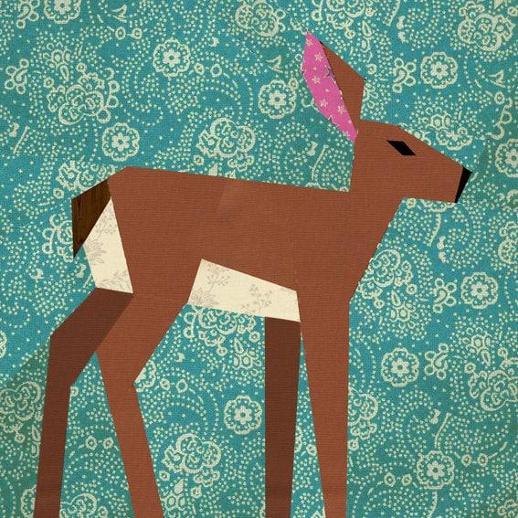 Deer paper pieced quilt block pattern PDF by BubbleStitch