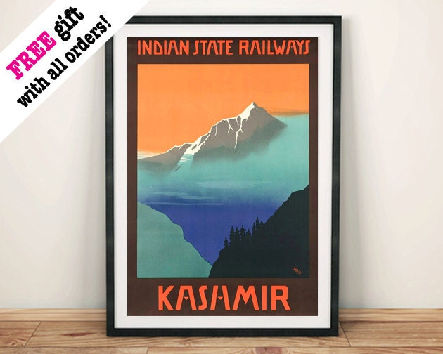 KASHMIR MOUNTAIN POSTER Vintage India Travel Advert Art Print Wall Hanging