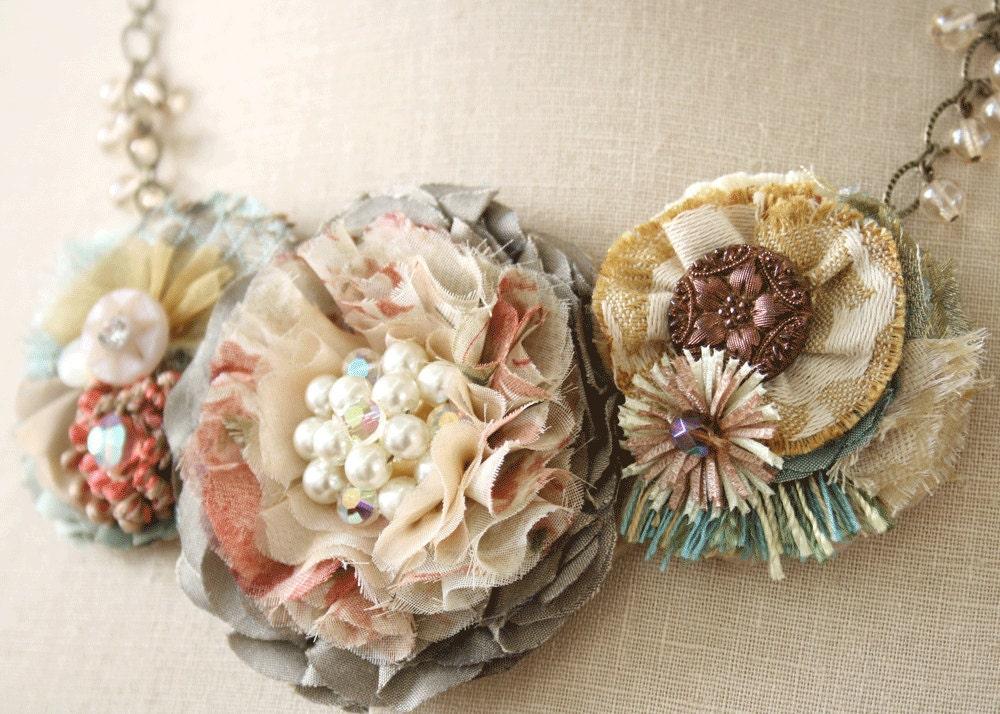 A Vintage Garden Floral Statement Necklace