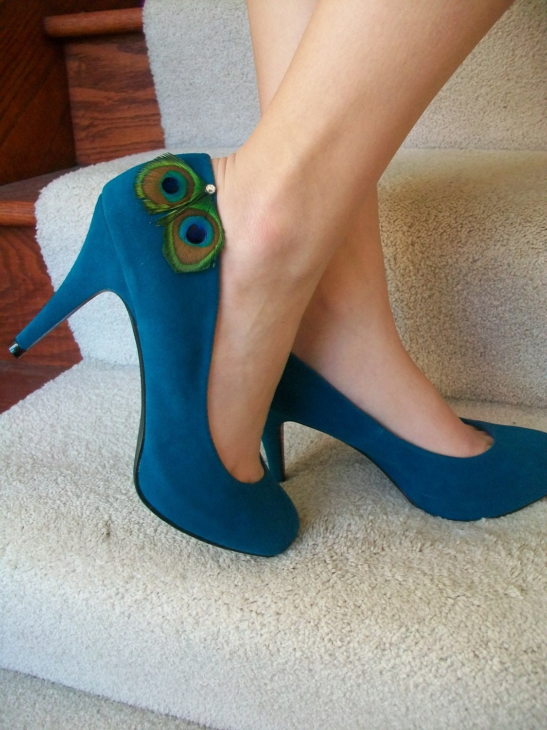 Peacock Shoes Size 7 ... Teal ...  Screaming Peacock Swarovski...Ready To Ship