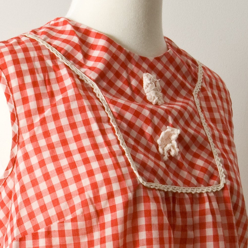 Vintage Red Gingham sleeveless summer top small medium