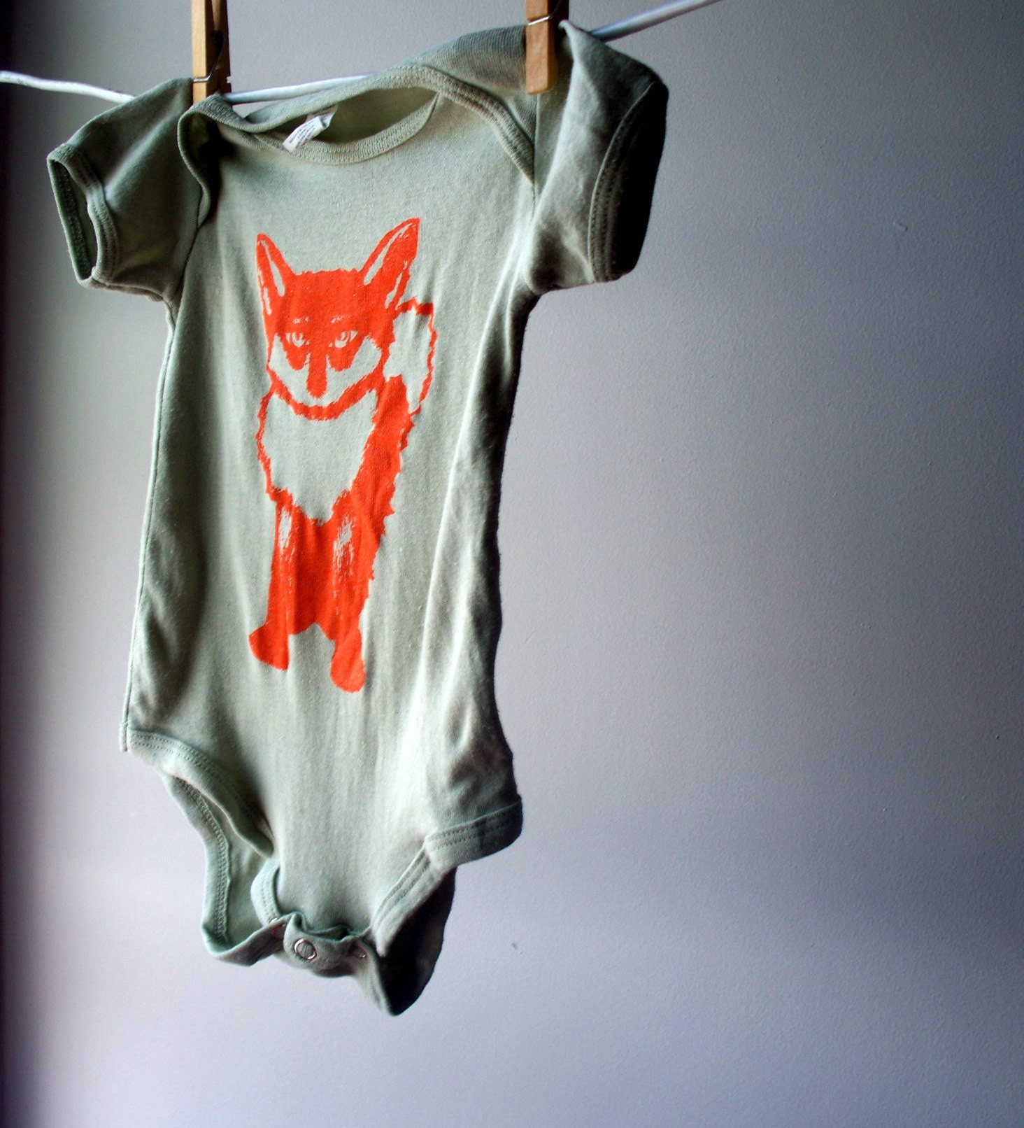 Frederic the Fox - Screen Printed Organic Bodysuit, Sage Green with Orange Ink, sized 3 - 6 months