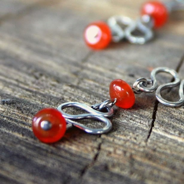 TANGO earrings - natural agate, hand-forged sterling silver