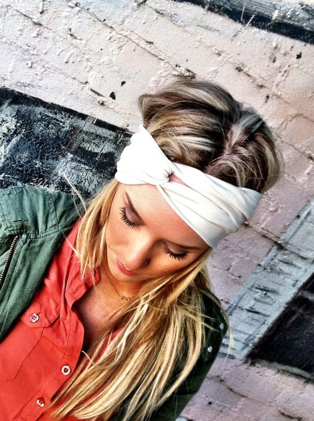 Cream Stretchy Jersey Twisted Workout Headband - Ivory Turban Wide Hippie Boho Headband head bands Hair Coverings (HBT-04)