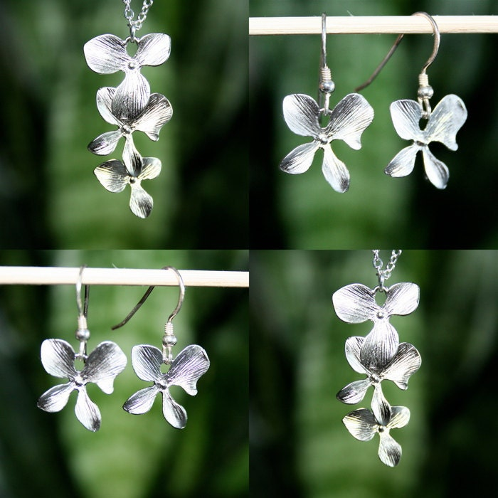 Silver Orchid Flower Necklace and Earrings  Set of Two Great Gift by smilesophie