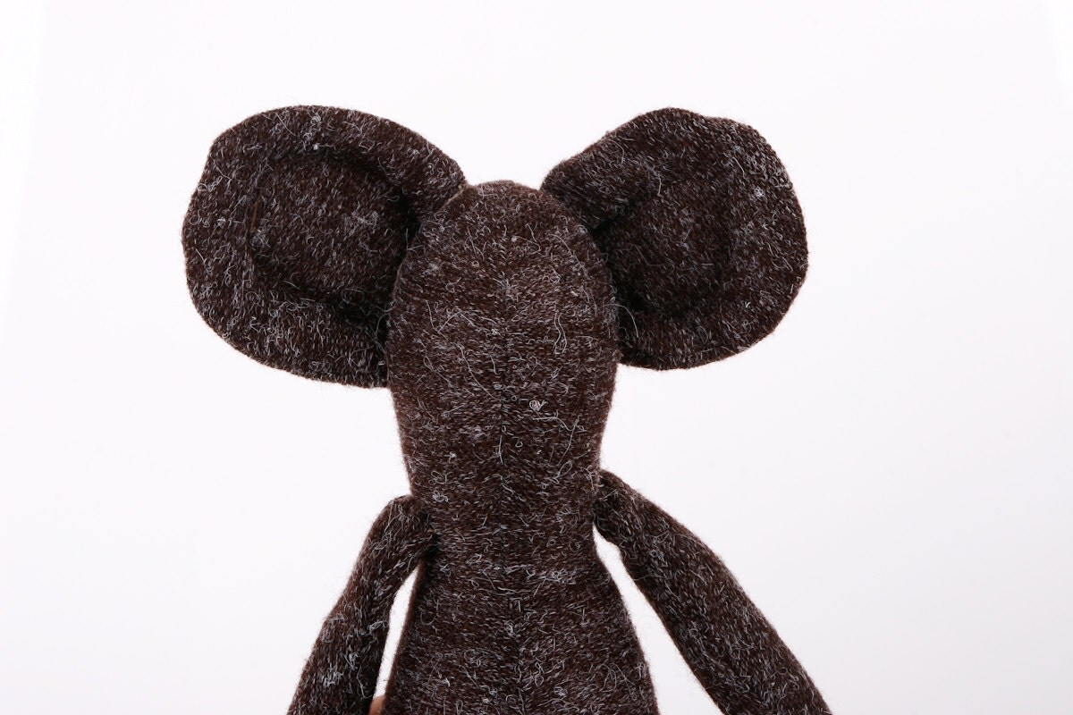 Mommy, theres a mouse in the house - plush mouse doll - Soft and woolly ,sepia, dark brown, handmade Minimalist doll - TIMOHANDMADE