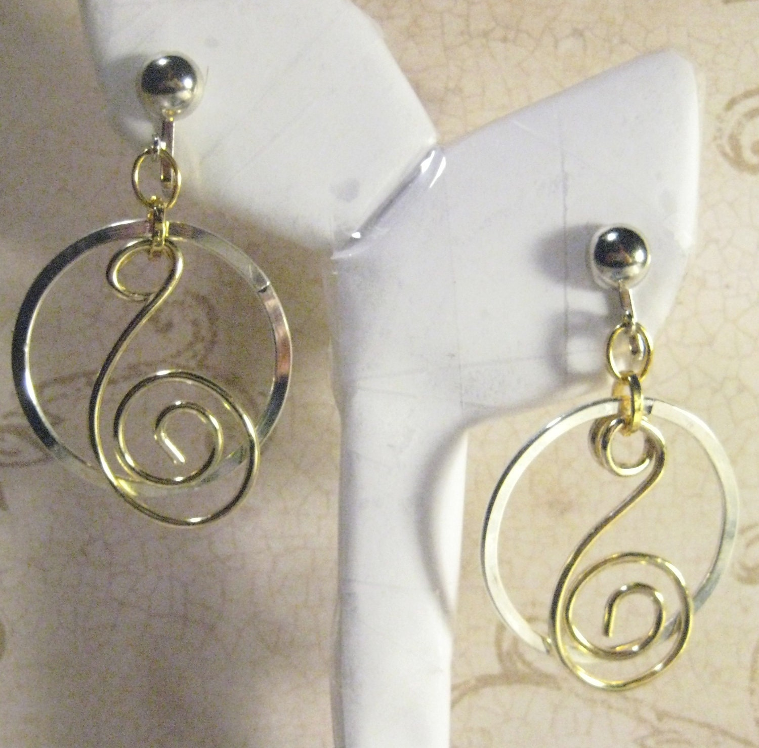 Handmade Artisan Wire Wrap Silver and Gold Clip On Hoop Earrings