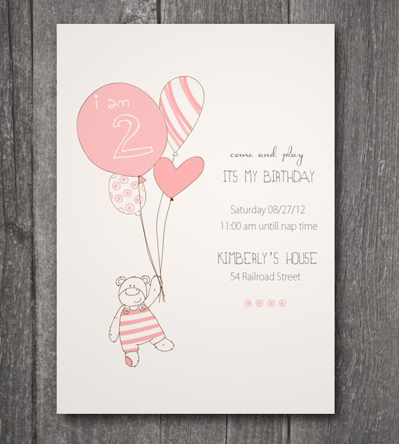 Printable Birthday Invitation, -Teddy