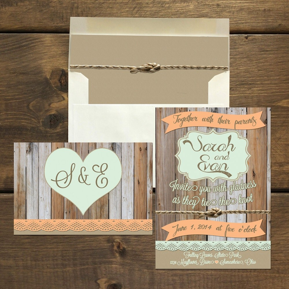 Wedding Invitation Package Rustic Fall By EvergreenandWillow
