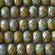 Premium Czech Glass Beads- 6mm x 9mm faceted rondelles - turquoise picasso (220G)