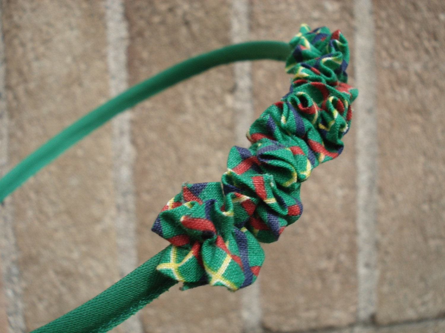 One of a Kind Tiny Ruffles Headband in Green, Red and Yellow Plaid