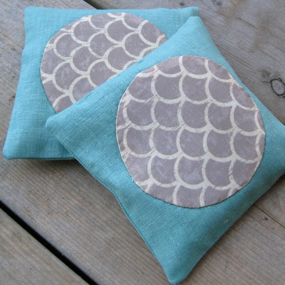 balsam fir sachets / mod grey silk applique on robin's egg blue linen