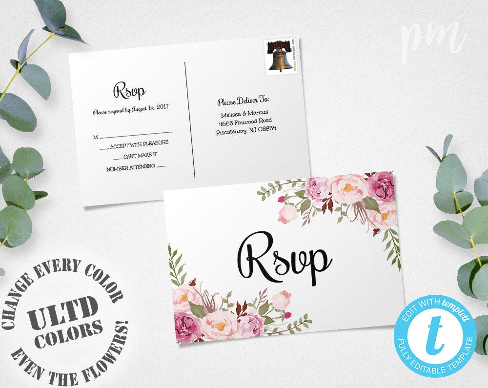 Rsvp postcards wedding