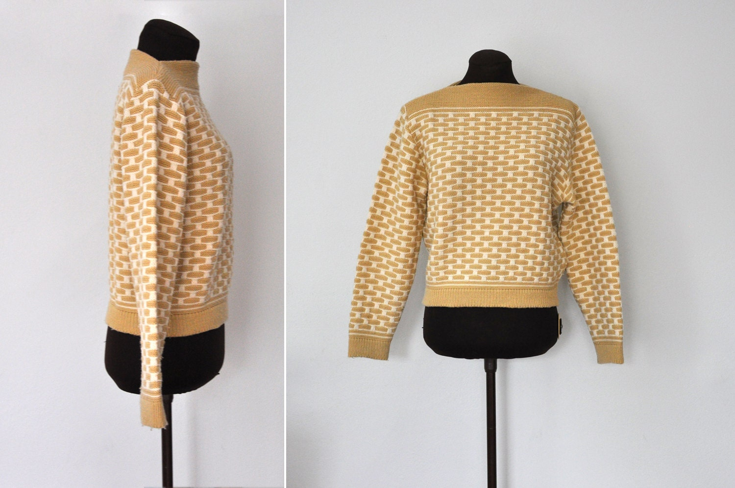 60s patterned wool s weater by koret of california size xs s koret