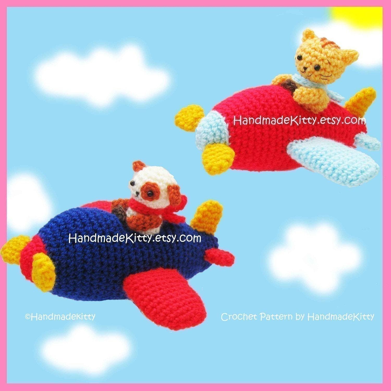 Kitty and Doggy Aerobatic Flying Team Amigurumi Crochet Pattern by HandmadeKitty