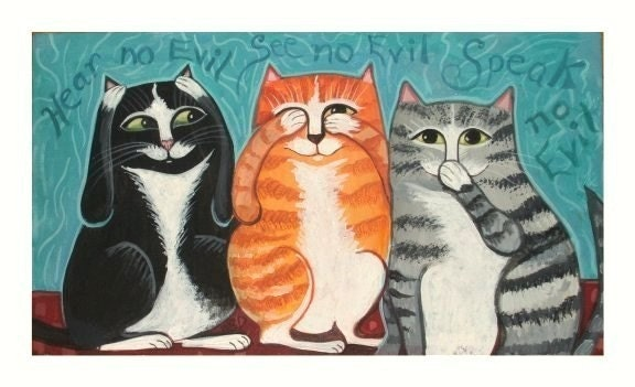 THREE CATS FOLK ART PRINT See Hear Speak no evil Kitties Monkey Style SIGNED ART POSTER Cute AQUA Sale