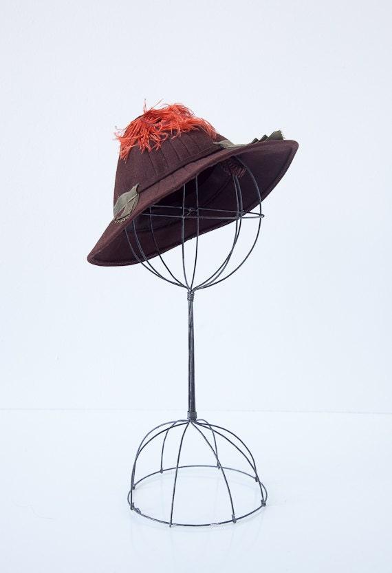 vintage 1930s hat / vintage 30s hat / vintage 1930s toy hat / vintage tilt hat 1930s