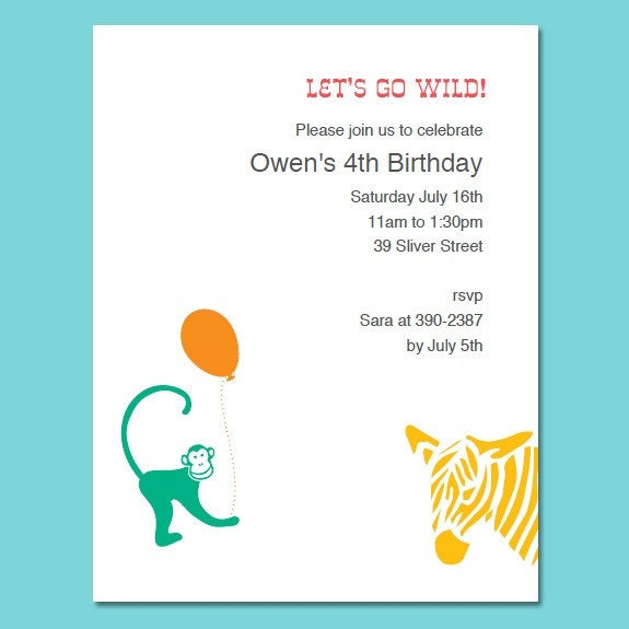 Printable Animals Birthday Invitations Template