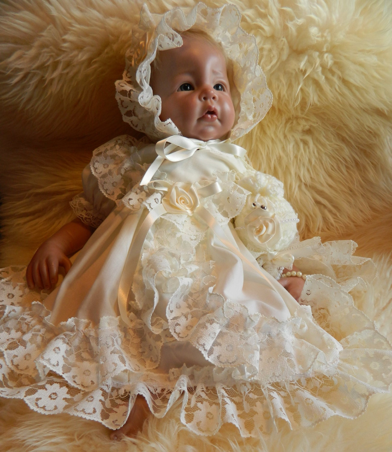 RebornNewborn Baby dresshairband in   cream reborn dolls clothes silcone full body clothes