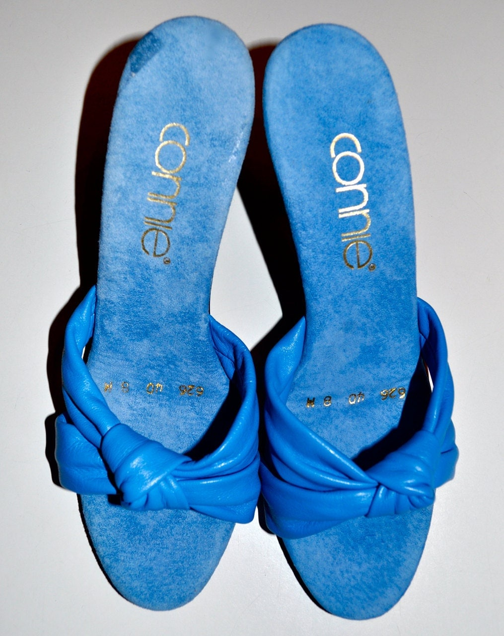 CONNIE SHOES 1970s Blue Leather and Suede 3.5 Inch Heel SANDALS Shoes